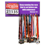 Keep running the race that is set before you with endurance - Hebrews 12:1 - Medal Hanger, Holder, Display
