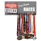 Your Name RACES - Custom Name - Medals and Bib Hanger, Holder, Display