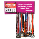 Inspirational Quote Medal Display - The only way to define your limits is by going beyond them. - Arthur Clarke - Medals and Bib Hanger, Holder, Display