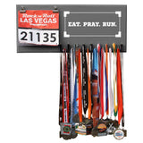 Eat Pray Run- Medals and Bib Hanger, Holder, Display