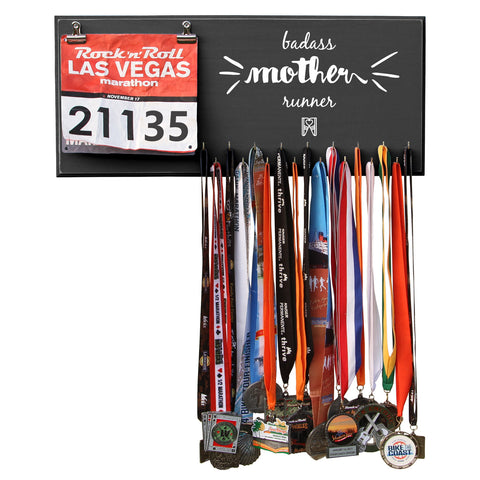 Badass Mother Runner - Medals and Bib Hanger, Holder, Display