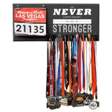 It Never Gets Easier You Just Get Stronger - Medals and Bib Hanger, Holder, Display