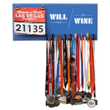 Will Run For Wine - Medals and Bib Hanger, Holder, Display