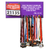 Forgetting What Is Behind And Straining Toward What Is Ahead, I Press On Toward The Goal To Win The Prize... - Phil. 3:13-14 - Medals and Bib Hanger, Holder, Display