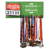 Never Stop Running After Your Dreams- Medals and Bib Hanger, Holder, Display