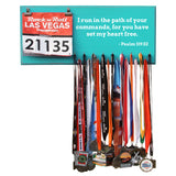 Inspirational Quote Medal Display - I run in the path of your commands, for you have set my hear free. - Psalm 119:32 - Medals and Bib Hanger, Holder, Display
