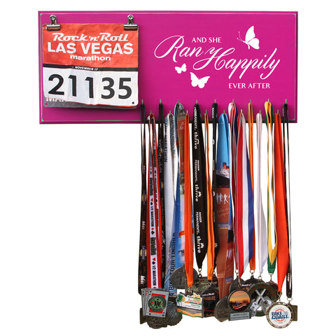 And She Ran Happily Ever After- Medals and Bib Hanger, Holder, Display