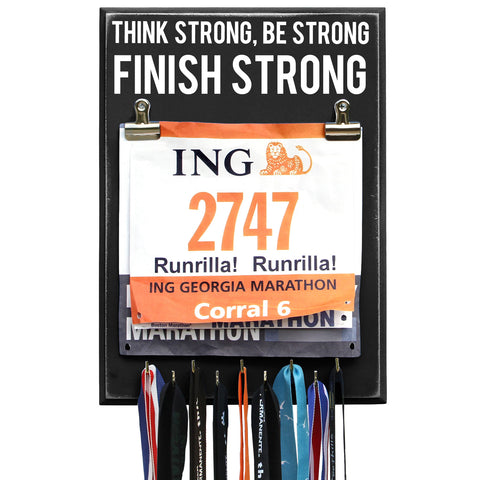Think Strong Be Strong Finish Strong Black 9 Hooks - Medal Hanger