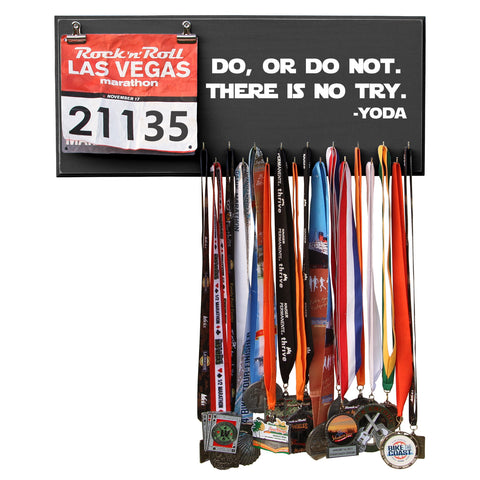 Do Or Do Not. There Is No Try. - Yoda - Black - 17 Hooks Medal Holder Display