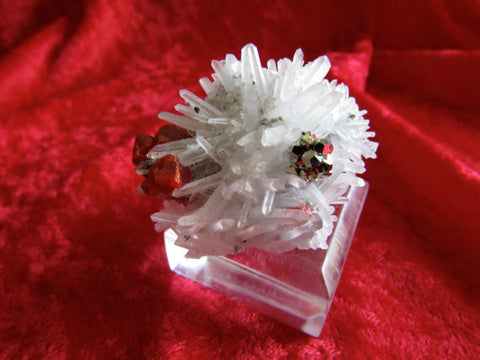 Red Realgar and Shiny Pyrite on Quartz - SOLD - Bisbeeborn - 1