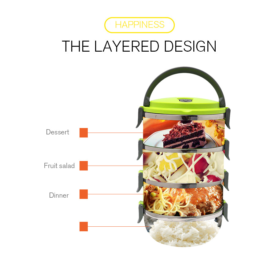 4 Layer Stainless Steel Bento Lunch Box - Portable Thermal Insulation Containers