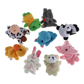 10 pcs Animal Finger Puppets Educational Set - Cute Plush Cartoon Puppet Toys