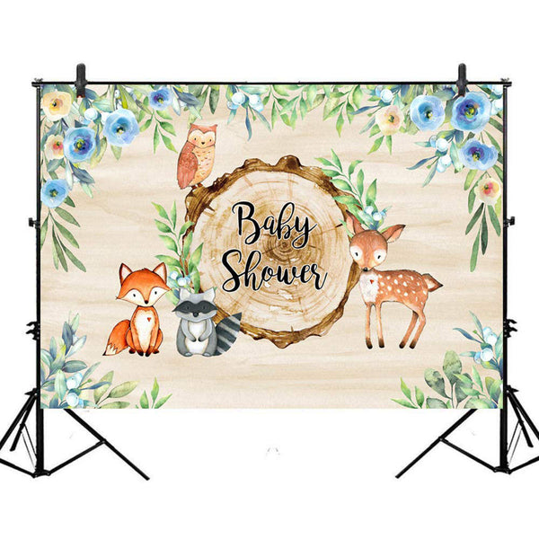 Baby Shower Photography Backdrops Background for Photos and Parties - Baby Shower Woodland Theme