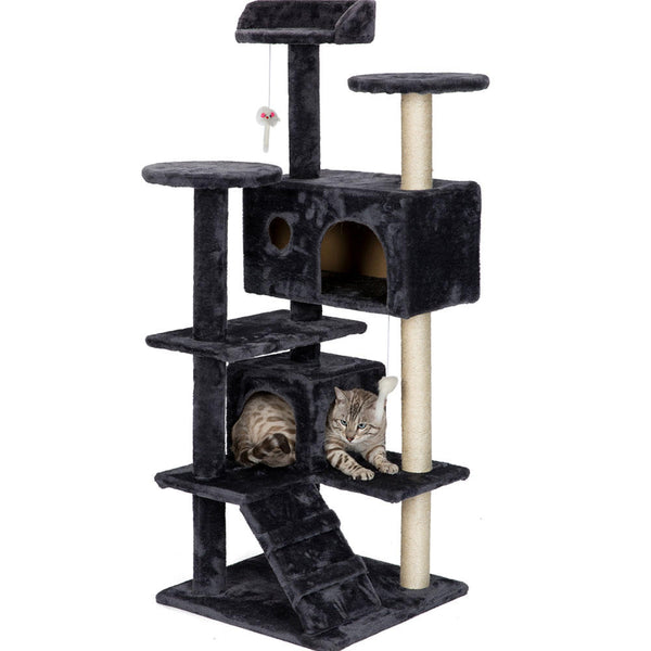 "Big Cat Tree Custom Condo Cat Mansion Scratching Tower - Sturdy 51"" Climbing Post"