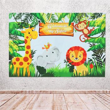 3 ft x 5 ft Cute Cartoon Wild Safari Photography Backdrops Background for Photos and Parties - African Jungle Animals Theme