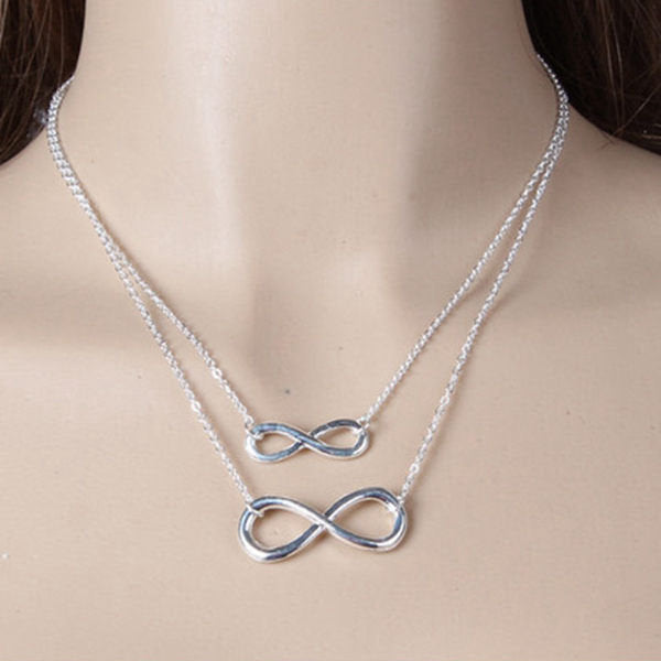 Gold Silver Pendant Necklace Jewelry - Leaves Bird Cross Infinity Necklaces for Women