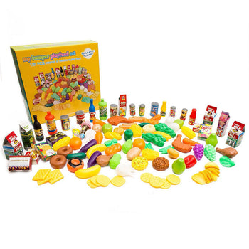 Kids Toy Kitchen Pretend Play Food - Huge 120 Piece Grocery Food Set