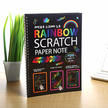 Scratch Paper Art Set Magic Rainbow Scratch Paper - 10 Notebooks with 10 Wooden Stylus
