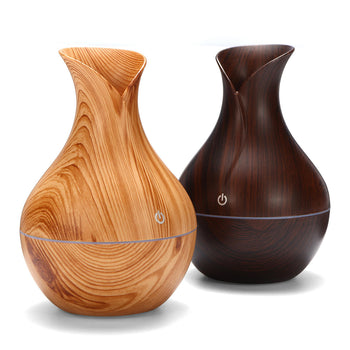 USB Humidifier Essential Oil Diffuser Cool Mist Air Purifier - Compact Electric LED 7 Colour Wood Grain
