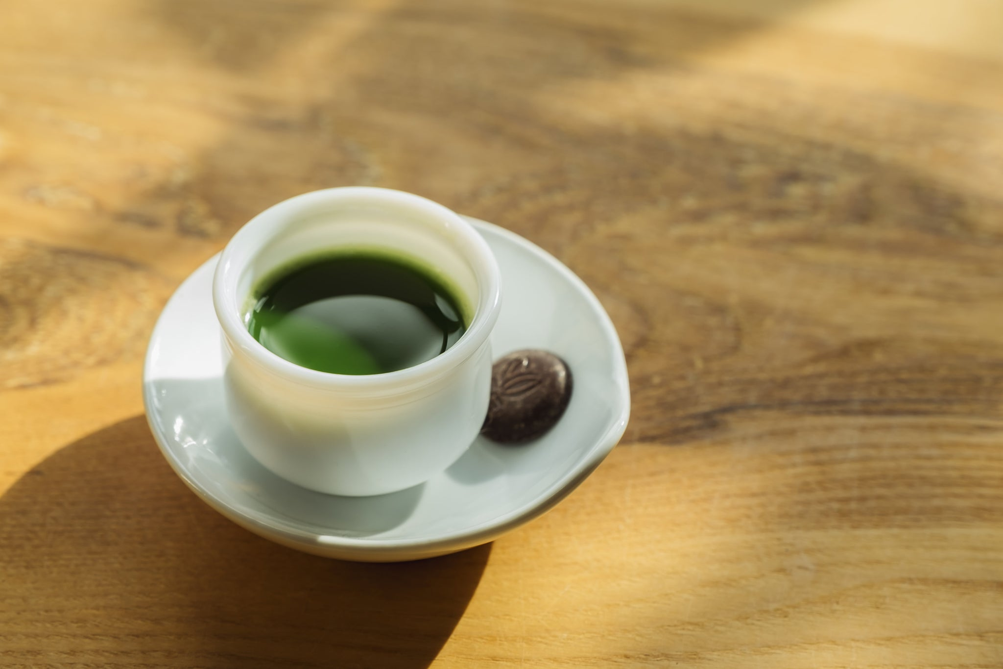 Pure Japanese matcha shot with chocolate. Green Tea