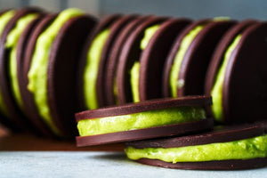 Dark Chocolate Gelt & Mizuba Matcha Mousse Sandwiches