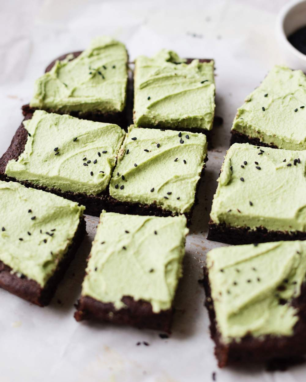 Healthy Decadence - Cashew Frosting Matcha Green Tea Sesame Tahini Brownies