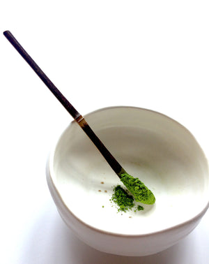 Handcrafted sesame Chashaku tea scoop for Japanese matcha ceremony