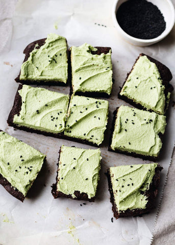 Chocolate Tahini Sesame Matcha Green Tea Frosted Brownies