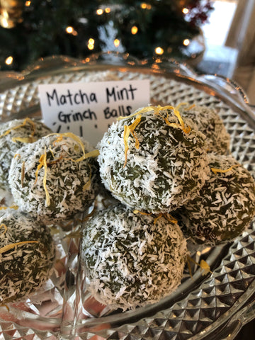 "Mizuba Matcha keto approved holiday ""bliss"" balls. raw plant based and vegan"