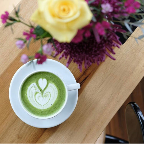 Mizuba Matcha Green Tea Café Latte at Dapper & Wise Coffee Roasters, Portland, Oregon