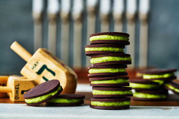 Dark Chocolate Gelt & Matcha Green Tea Mousse Sandwiches | Proportional Plate