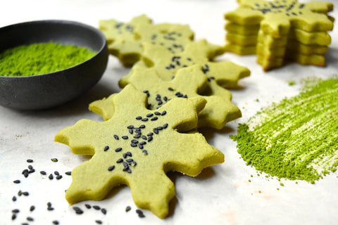 Christmas Themed Matcha Shortbread