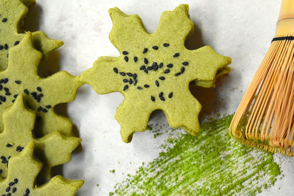 Festive Holiday Matcha Snowflake Cookies