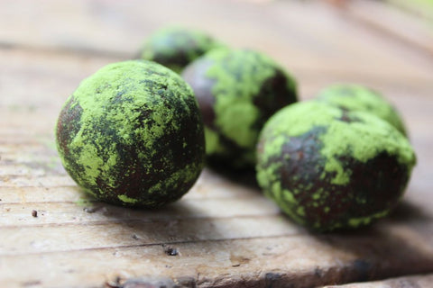 Mizuba raw cocoa truffles with matcha sprinkle by summer sanders
