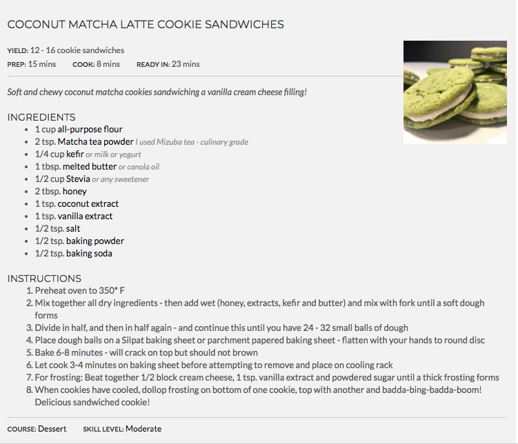 Coconut Mizuba Matcha Latte Green Tea Cookies by Food Blogger Kriss With Bliss. Healthy and Delicious!