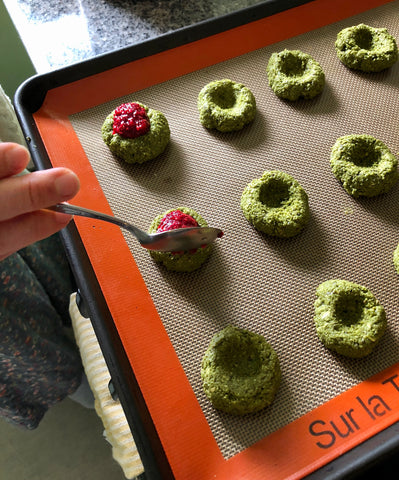 Low glycemic raspberry chia thumbprint cookies made with Mizuba matcha green tea and coconut butter