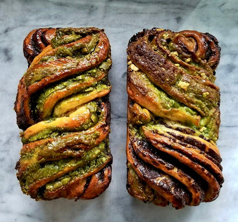 MATCHA BABKA CAKE! Celebrate Mizuba Tea Co. with a chocolate swirled babka loaf. Traditional recipe included!