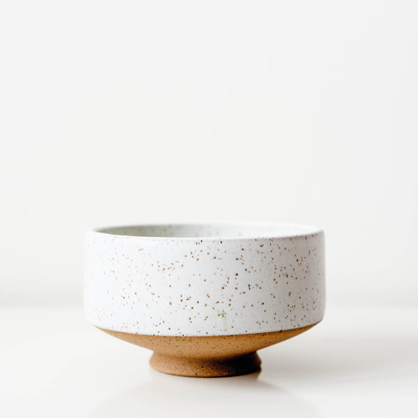 Handmade Wolf Ceramics speckled chawan matcha tea bowl, perfect for Mizuba matcha. Limited to 30