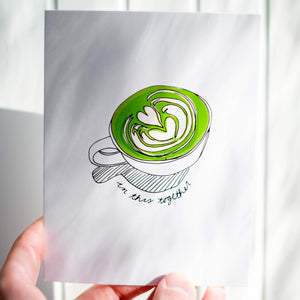 Illustrated Matcha Latte Card