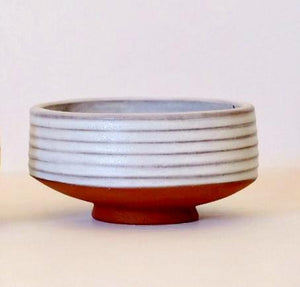 Ivory Ribbed Striped Handmade Matcha Chawan Green Tea Bowl by Wolf Ceramics in Portland Oregon