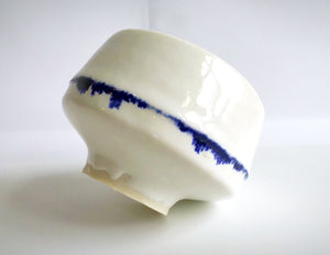 Beautiful handmade chawan with a cobalt ring. One of a kind tea bowl for matcha green tea