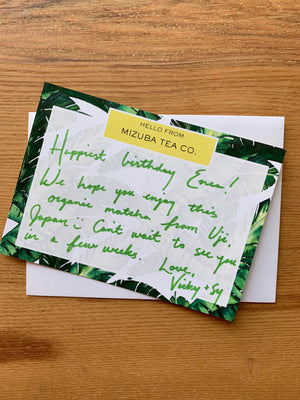 Handwritten letters for your matcha green tea gifts!