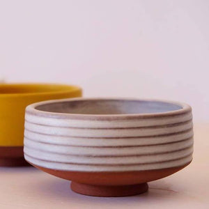 Ivory Ribbed Chawan for Matcha Green Tea