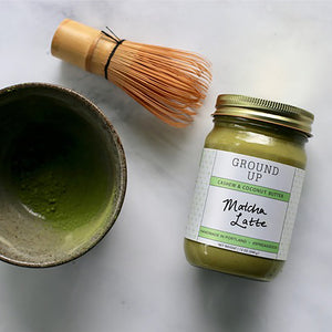 Matcha Chawan Bowl with Matcha Whisk and Jar of Ground Up Mizuba Matcha Latter Butter