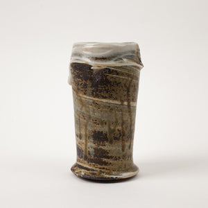 Handmade ash-glazed agateware tea mug