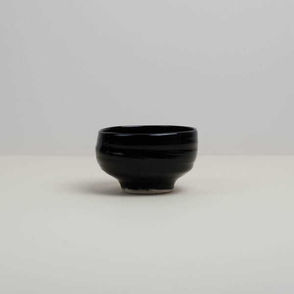 Pitch Black Handmade Chawan Ceremonial Matcha Green Tea Bowl