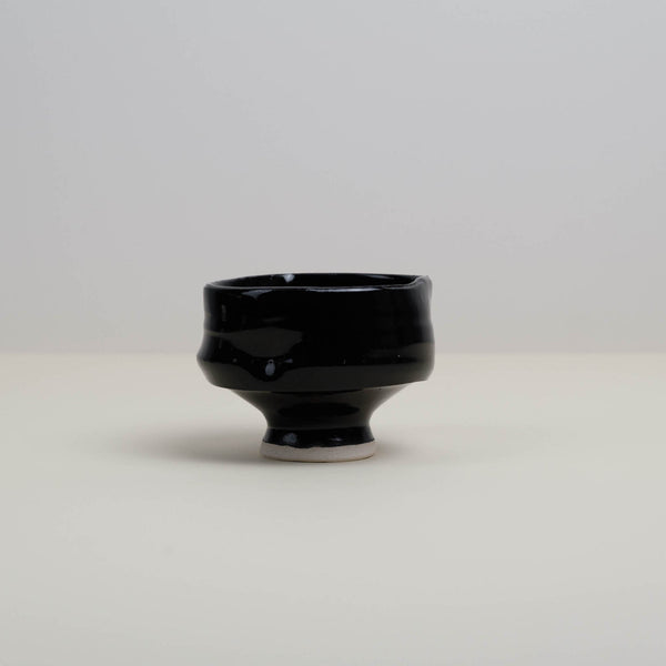 Handmade Black Chawan Matcha Bowl with Thumb-rest