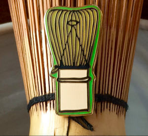 Style for Matcha Green Tea Lovers. Chasen Whisk Enamel Pin for Japanese Tea