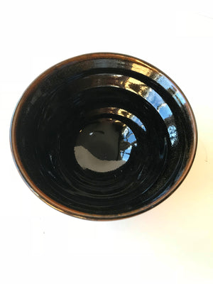 Iron black chawan tea bowl for Japanese matcha green tea