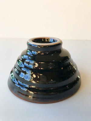 Handmade black chawan tea bowl by artist in Los Angeles